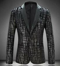 2016 Mens One Button Slim Pu Leather casual outwear suits coats jackets Black US