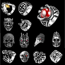 Fashion Mens Jewelry Skull Animal Gem Ring 316L Stainless Steel Ring US Size8-11