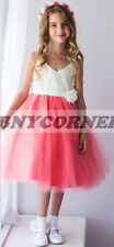 Coral Ivory Floral Gem Embroidered Flower Girl Dress Pageant Bridesmaid Wedding