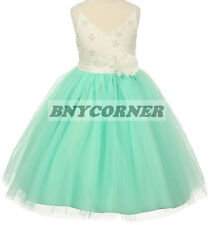 Mint Ivory Floral Gem Embroidered Flower Girl Dress Pageant Bridesmaid Wedding