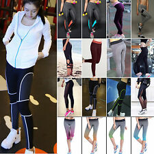 Womens Stretchy Gym Yoga Elastic Pencil Pants Fitness Sports Leggings Trousers