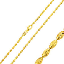 2.2mm 925 Sterling Silver Moon Bead Chain Necklace / Gold Plated made in italy