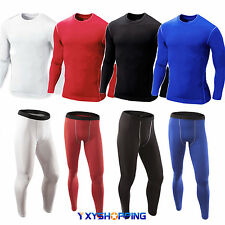 New Mens Compression Under Base Layer Top Tight Long Sleeve T-Shirts Pants Sport