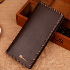 Men's Long Leather Wallet Pockets Purse ID Credit Card Holder Clutch Bifold