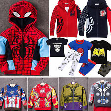 Superhero Hooded Coats T-shirt Pants Outfits Cosplay Kids Boys Toddler Clothes