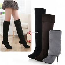 Women Over The Knee Thigh High Stretch Platforms Stiletto Heel Boots Shoes EN24H