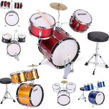 ammoon 3 Pcs Complete Drum Set +Cymbal+Throne~Black Blue Green Red Silver Q9R8