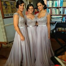 Long Grey Bridesmaid Dresses Cap Sleeves Sweetheart Evening Formal Party W1639