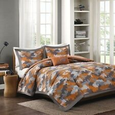 NEW Twin XL Full Queen 4 pc Boys Bed Comforter Set Gray Orange Camo Camouflage
