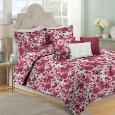 NEW Full Queen King Bed Burgundy Red Pink Floral 6 pc Comforter Set Elegant NWT