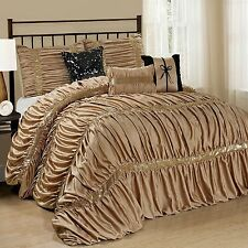 NEW Queen Cal King Bed Solid Gold Black Sequin Striped 7pc Comforter Set Elegant