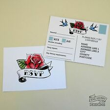ROSE & SWALLOW RSVP POSTCARDS PERSONALISED WEDDING TATTOO ROCKABILLY FROM £1.15