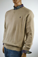 Ralph Lauren Tan Wheat Crewneck Cotton Sweater/Brown Pony-NWT