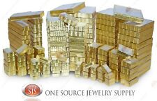 Gold View Top Clear Top Cotton Filled Jewelry Gift Boxes Box Lots 12-25-50-100