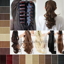 Long Clip In Ponytail Hair Extension Wrap/Claw On Hair Piece Wavy Straight ss38