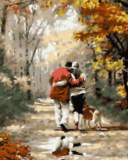 A Couple With Dog On The Road Needlepoint Canvas 283