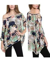Women's Batwing Sleeve Round Neck Floral Printed Loose Semi Sheer Top T-Shirt