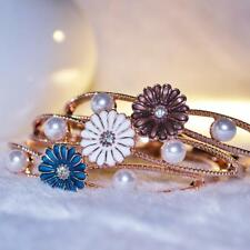 Rose Gold Plated Daisy Pearl Bangle Bracelet Cuff Girl Jewelry Gift 3 Colors