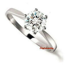 18k White Gold Plated Prong Set Swarovski Crystal Solitaire Engagement Ring R01