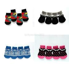 New 4pcs Pet Small Dog Warm Soft Socks Anti-slip Cotton Knit Socks Skid Bottom