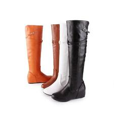 2016 Women's Synthetic Leather Hidden Wedge Heel Knee High Boots Shoes Plus Size