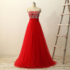 Sexy Red Sleeveless Prom Quinceanera Dress Party Tulle Evening Gown Beading E269