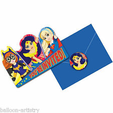 8 DC Super Hero Girls Supergirl Children's Party Invitations plus Envelopes