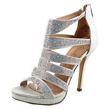 De Blossom Collection Marna-27 Women  Open Toe Synthetic Silver Sandals