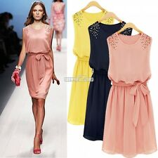 Womens Crew Neck Sleeveless Chiffon Belt Pleated Minidress Beads Vest Dress S0BZ