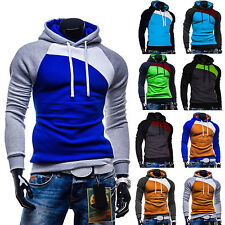 Mens Top Colorblock Designed Slim Fit Hoody Hoodies Casual Coat Pullover Sweater