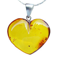 Romantic Baltic Amber HEART Pendant with sterling silver fittings. S, M, L sizes
