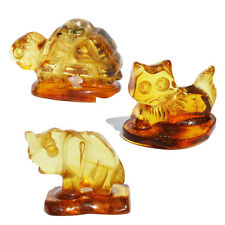 Baltic Amber CAT/Elephant/Turtle/Mushrooms Statue carved from baltic amber