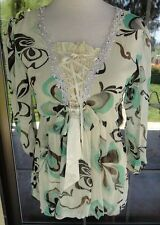 Gorgeous Balloon Hem Corset Style Front PRETTY ANGEL Blouse Sz. M
