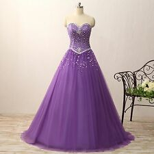 Women's Ball Gown Organza Quinceanera Dresses Prom Gowns Purple Beading E382