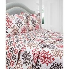 NEW Twin Full Queen King 3pc Red Tan Geometric Reversible Quilt Coverlet Bed Set