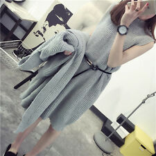 Fashion Women's Twinset Sweaters MD-Long Knitwear Loose Sundress Outerwear Tops