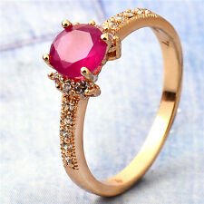 18K Yellow Gold Plated Garnet Round CZ Promise Love Band Ring Statement