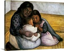 Rivera: Mother and Children by Diego Rivera Painting Print on Canvas