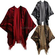 Tassel Fringed Cape Womens Cardigan Scarf Coat Winter Poncho Sweater Tops X1D8