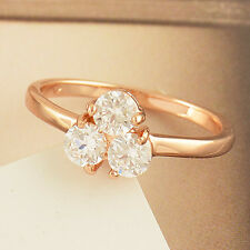 Flower Rose Gold Filled Clear Cubic Zirconia Lucky womens wedding Ring,Size 6,7