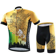 Gold Cycling Wear Bicycle Bike Jersey / Jacket & Padded MTB Short Pants Size 5XL