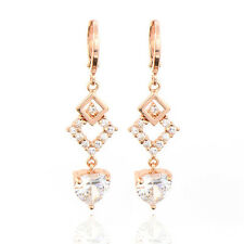 Fashion Rose Gold Plated Multicolor CZ Water Drop Earrings