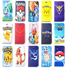 Pikachu Pokemon Patterns Phone Case for iPhone 6S 5S SE 4S PU Leather Cover Skin