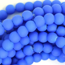 "Frost Blue Matte Glass Round Beads Gemstone 15"" Strand 4mm 6mm 8mm 10mm 12mm"
