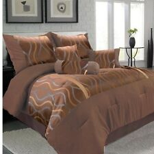 NEW Queen King Bed Brown Geometric Modern Stripe 7 pc Comforter Pillows Set NWT