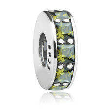Authentic Olive Green Crystal CZ Spacer Charm S925 Sterling silver for bracelet