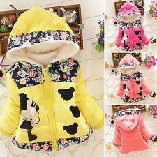 Kids Girls Toddler Minnie Mouse Zip Up Hoodie Jacket Coats Winter Warm Outwear