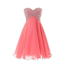 Bridesmaid Cocktail Dresses Sweetheart Beaded Chiffon Empire A-line Party W1659