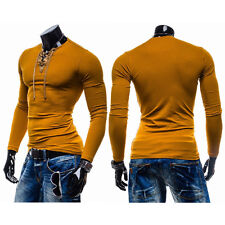 Hot Sale Mens Long Sleeve T shirt Casual Shirts Slim Fit V-Neck Muscle Tops Tee