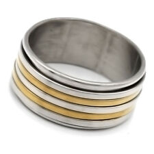 Stainless Steel Ring 4-Smooth Circles 2 Tones Gold Plated Size 7 8 9 10 11